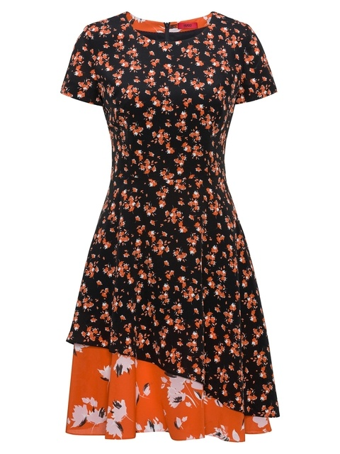 22df87d7e4 Short-Sleeved Silk Dress with Patched Floral Prints
