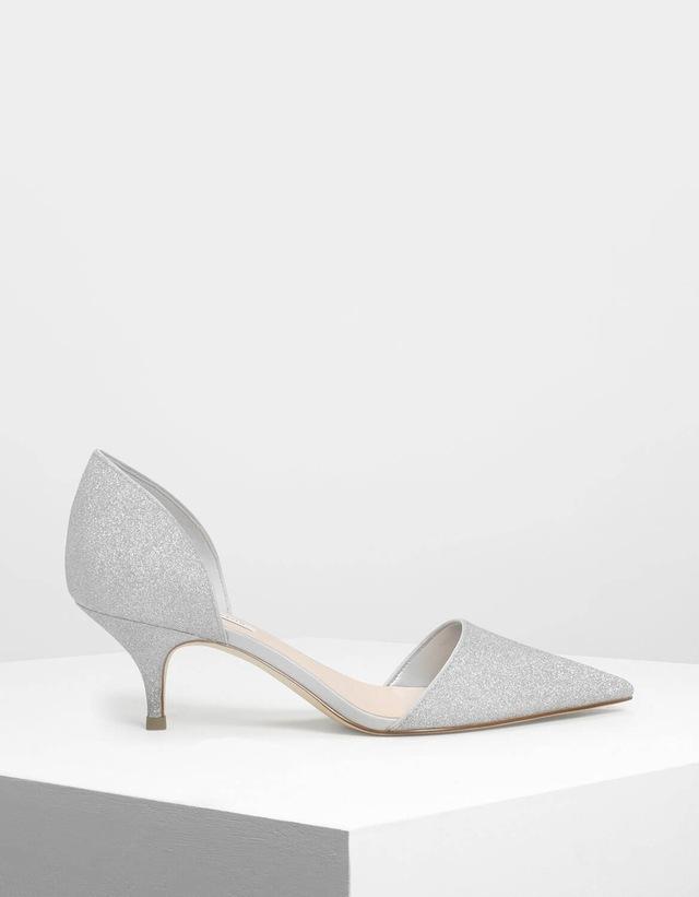 75159024fb6d D Orsay Glitter Fabric Kitten Heel Pumps