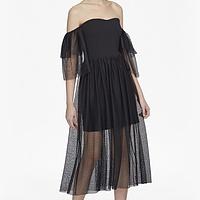 Valentin Sheer Jersey Off Shoulder Midi Dress  9b4c224f9
