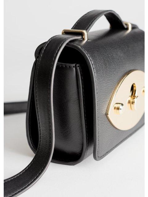 88d5e9acdc02 Push Lock Leather Crossbody Bag