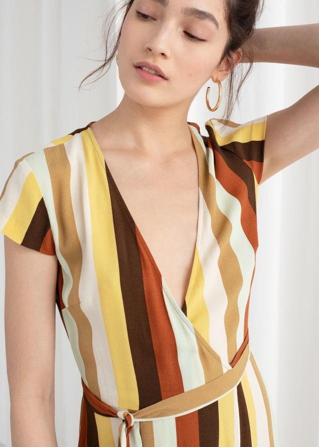 12060af5069 Curved Hem Midi Wrap Dress