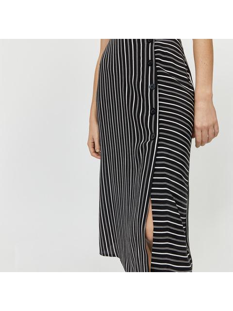eeb0add37d49 Stripe Button Side Midi Skirt | Endource
