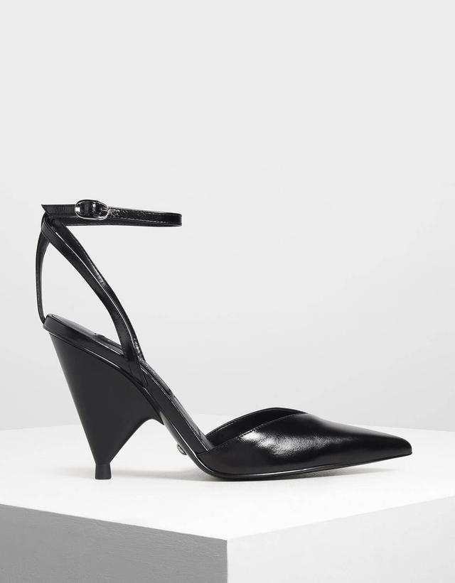 366c35ac55e V-Cut Ankle Strap Cone Heels