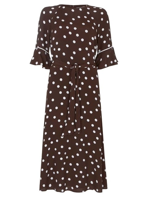 157ad9d80ed4 Chocolate Polka Dot Midi Dress