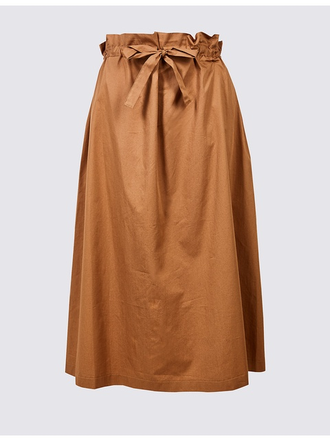 437c5c3c45 Pure Cotton Smoke Waist A-Line Midi Skirt | Endource