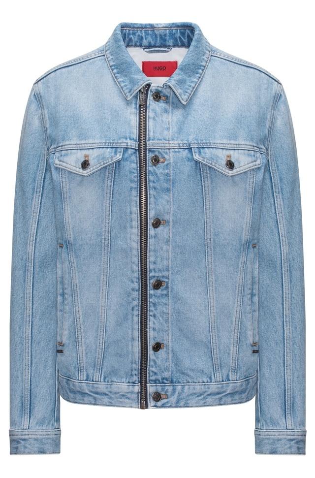 Oversized Fit Stonewashed Denim Jacket With Zip Detail Endource