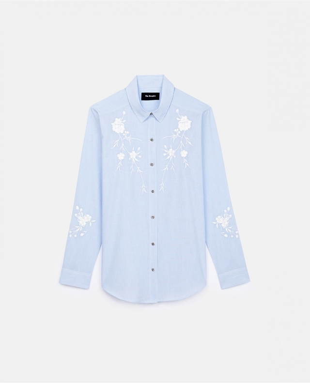e00f6ff5737 Floral Embroidery Striped Shirt | Endource