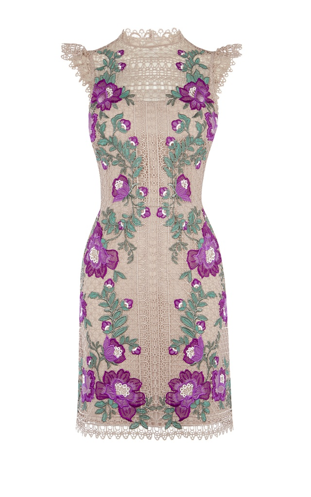 Floral embroidered mini dress endource