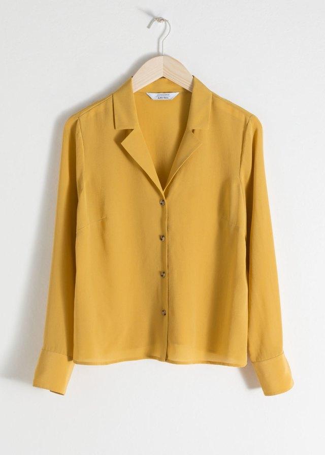 5e74dc5a V-Cut Silk Button Up Blouse | Endource