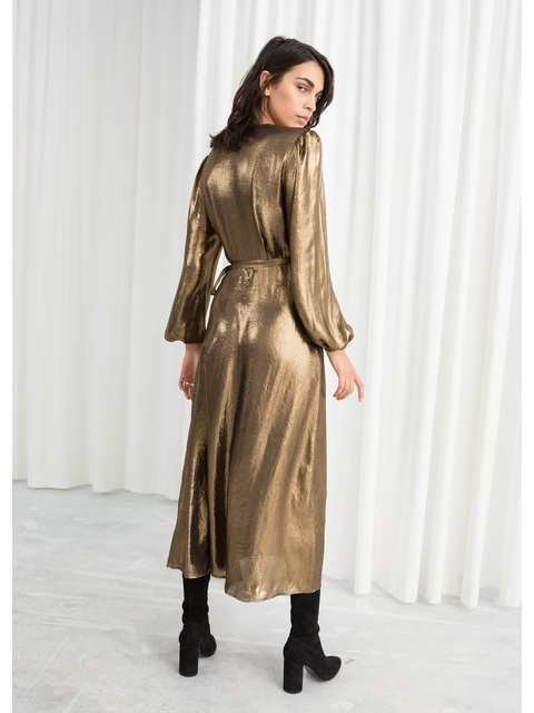 9b93064e51 Metallic Satin Midi Dress