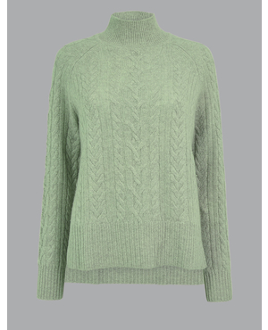a2c2b11e6dd519 Pure Cashmere Relaxed Fit Cable Knit Jumper by Marks and Spencer - Autograph