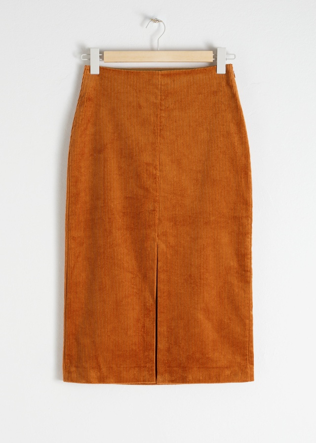 0ba2ca6e6315 Front Slit Corduroy Midi Skirt | Endource