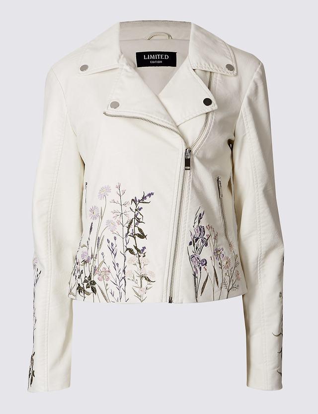 Pu floral embroidered jacket endource