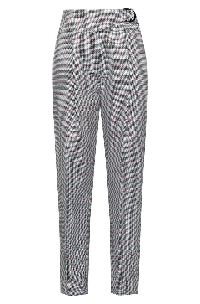 Tapered-leg cotton trousers with zigzag check HUGO BOSS aHNs5jLGKU