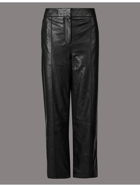 27233436badbe Leather Straight Leg Trousers