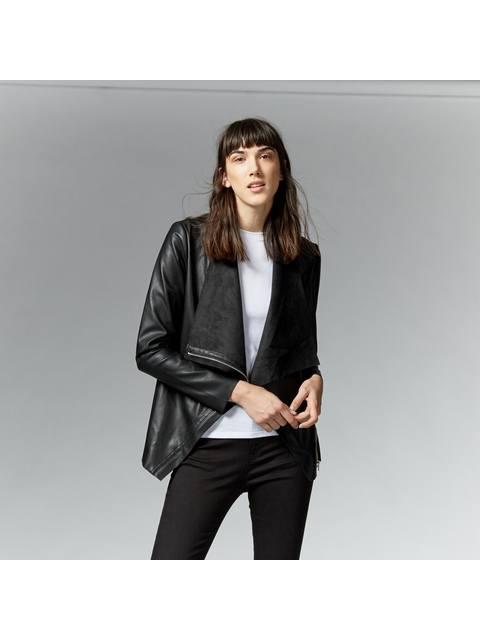 b4f2d103b Faux Leather Drape Jacket