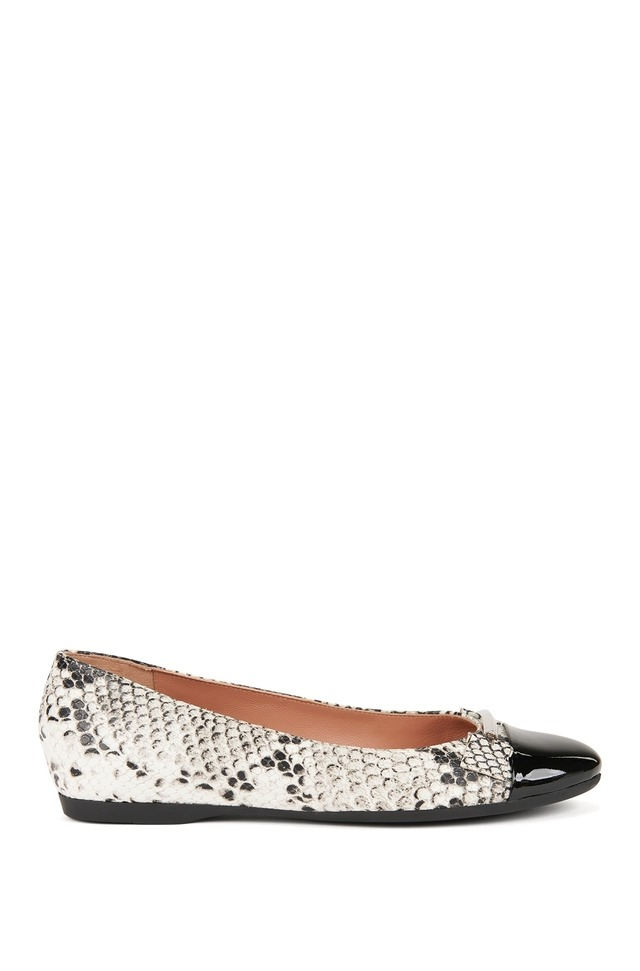 snakeprint leather ballerina pumps with patent toe endource