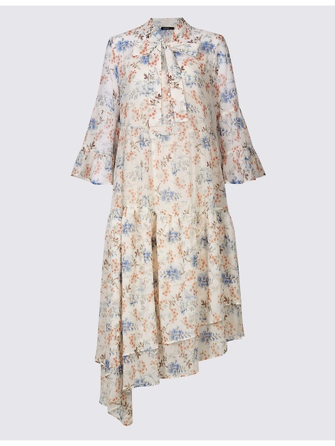 87c7534eae592 Floral Print Asymmetric Swing Midi Dress