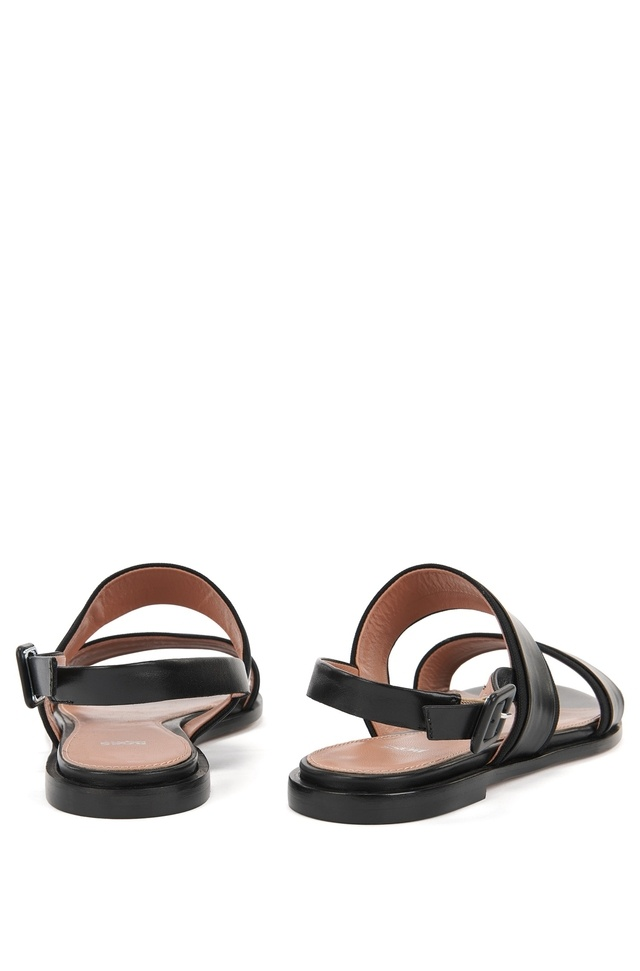 Flat slingback sandals in Italian leather with canvas trims BOSS Cheap Sale Ebay Discount With Paypal Free Shipping Pre Order tnqoW