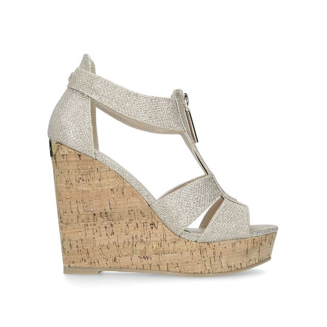 8b0035f86af Krass Metallic High Heel Wedge Sandals