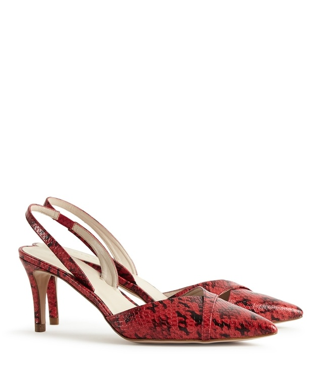 Ivy Print - Snake-effect Point-toe Shoes in Poppy, Womens, Size 3 Reiss