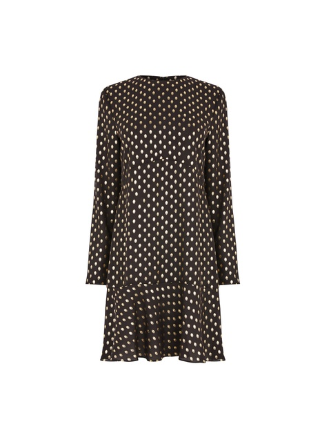 409237f93497 Metallic Spot Ruffle Hem Dress