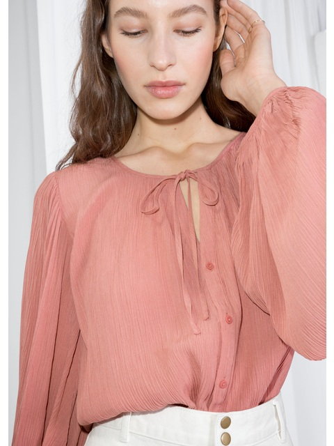 60367720 Billowy Neck Tie Silk Blouse Endource