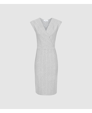 6b8053fd998f Olivia Wrap Front Knitted Bodycon Dress by Reiss