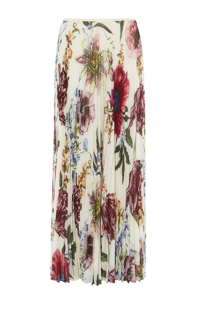 Pleated Floral Maxi Skirt | Endource