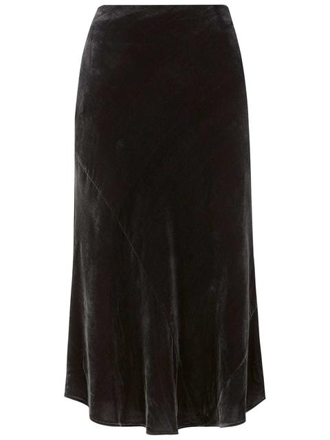 6cad504e56 Charcoal Velvet Midi Skirt