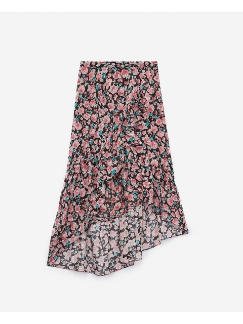 169735c84d Asymmetric Floral Silk Skirt | Endource