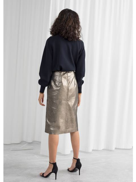 459791d1afc Metallic Leather Pencil Skirt