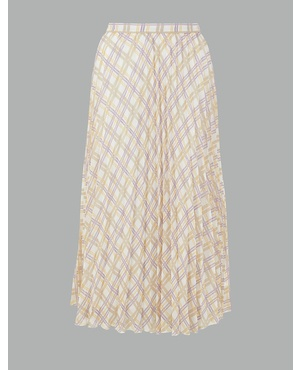8211c4764c Checked Pleated Midi Skirt by Marks and Spencer