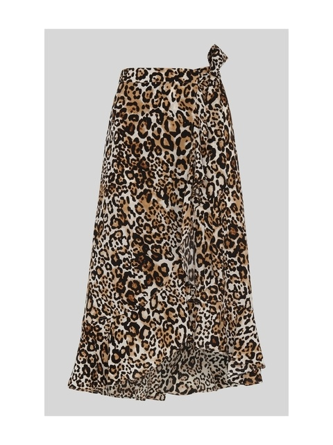 230f076d94 Animal Print Frill Wrap Skirt