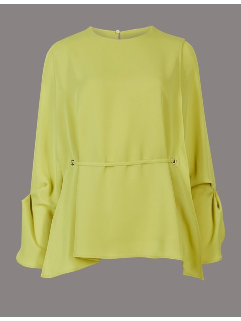 691f28aa8c79e6 Cuff Detail Round Neck Long Sleeve Blouse   Endource