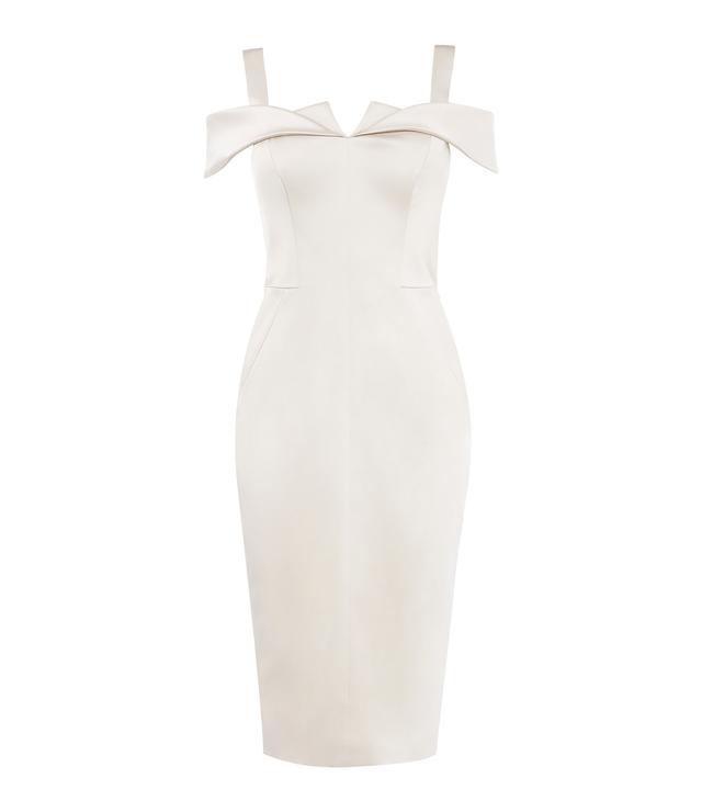 Cold-Shoulder Satin Dress