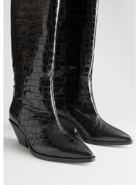 a13f957e4a3 Patent Croc Knee High Cowboy Boots
