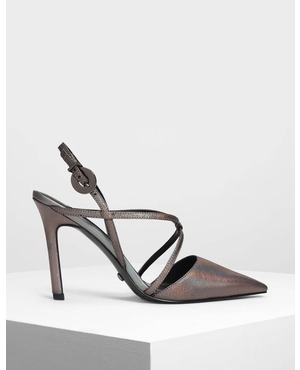 81d554b1b668 Strappy Criss Cross Leather Heels by Charles   Keith