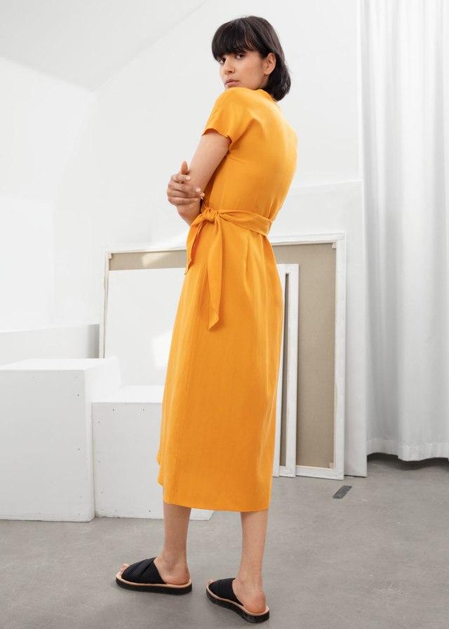 d8af68bee9 Lyocell Blend Wrap Midi Dress