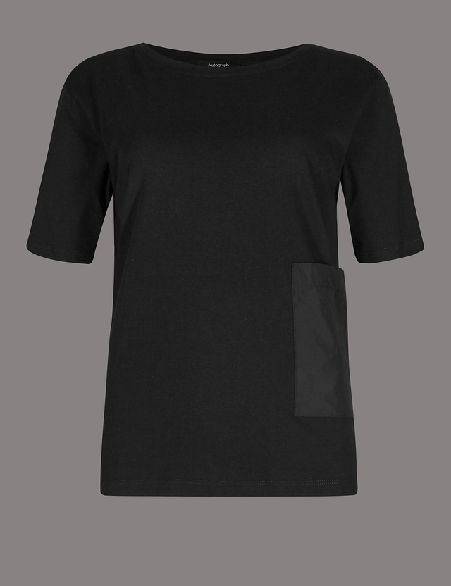 Free Shipping 100% Original Pure Cotton V-Neck Half Sleeve T-Shirt black Marks and Spencer Footlocker Online Sale Low Price Fee Shipping VRe5djA6vS