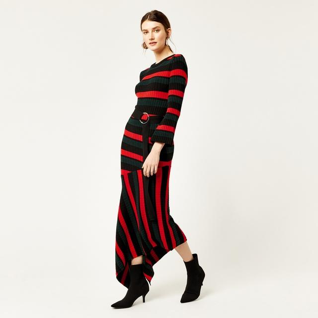 Stripe Asymmetric Hem Knitted Midi Dress - Multi stripe Warehouse 1u0CYH