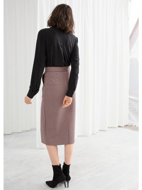 5d60639061 Houndstooth Button Down Pencil Skirt | Endource