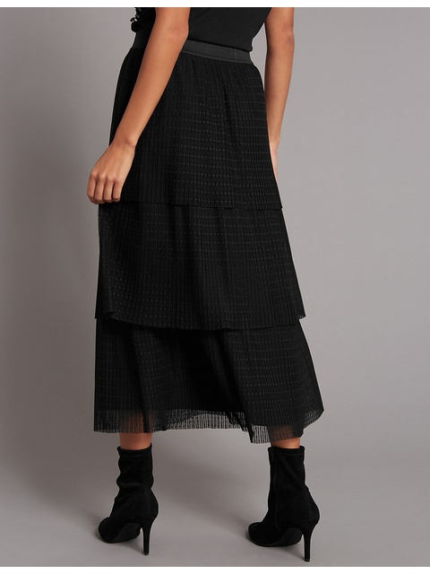 b294e9880f Tiered Mesh A-Line Midi Skirt | Endource