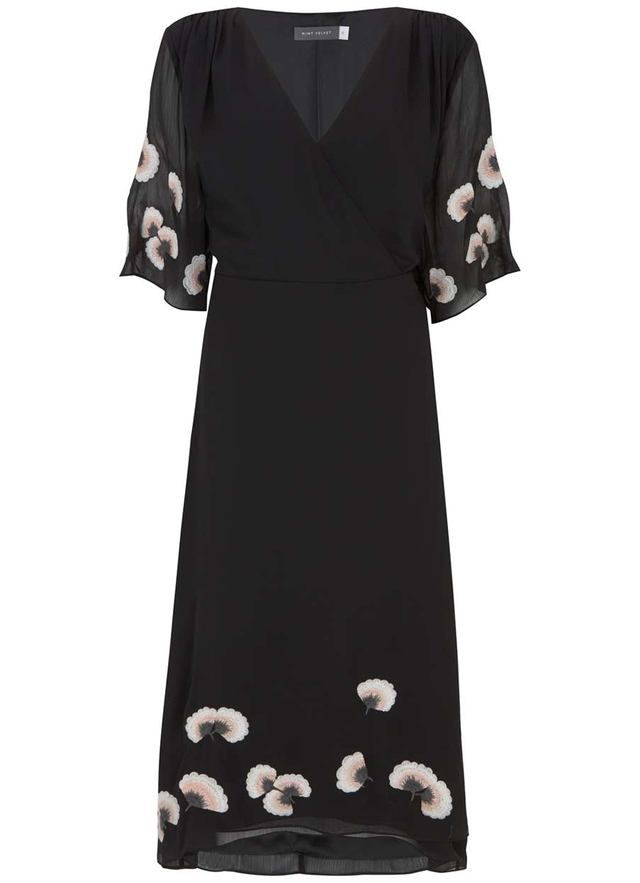 Embroidered Floral Wrap Dress Endource