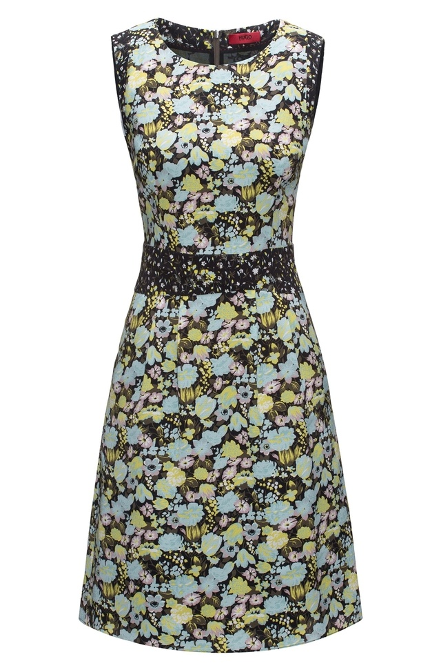 Short-sleeved silk dress with patched floral prints HUGO BOSS Sale New Styles Sneakernews 1V4MvYI