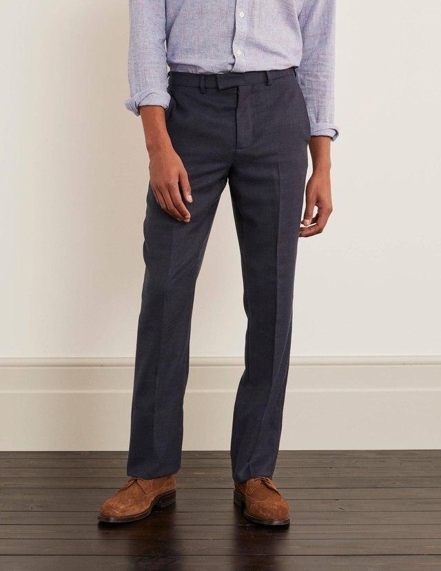Espresso Brown Formal Linen-Cotton Trouser  with Double Fusing belt