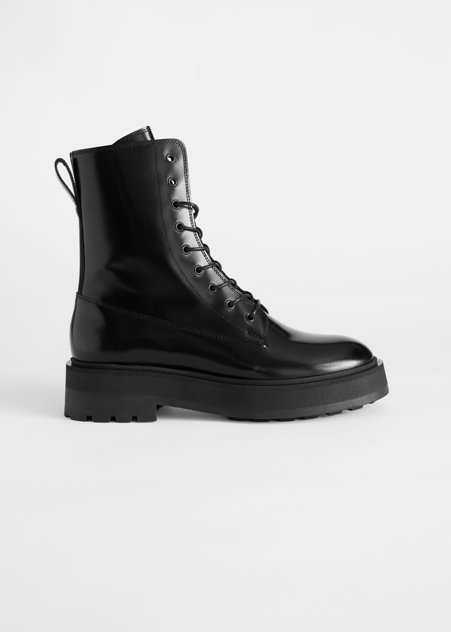 Chunky Leather Lace-Up Boots | Endource
