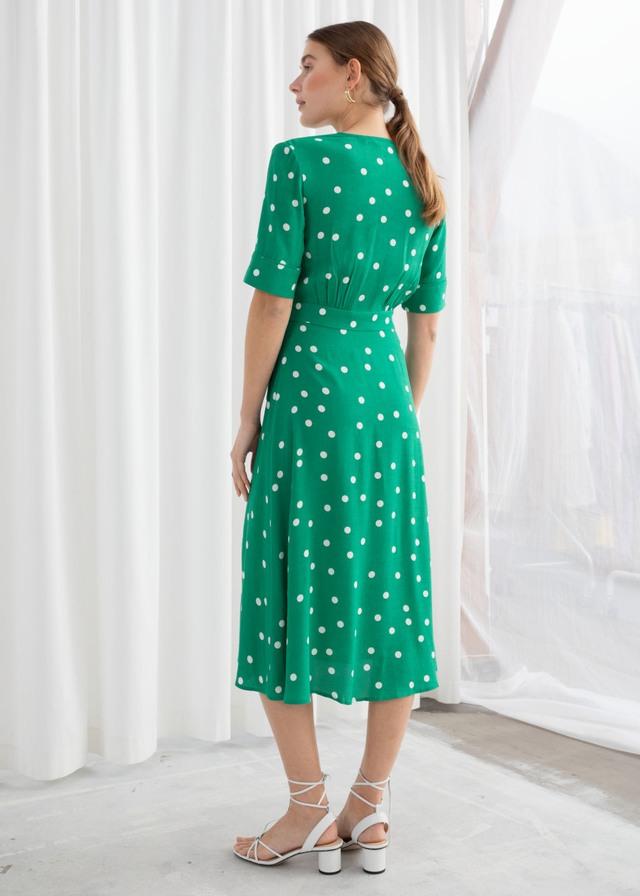 355962037a90 Polka Dot Midi Wrap Dress | Endource