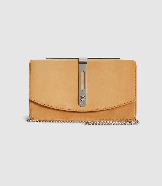 Gorgeous Ella Contrast Envelope Clutch Bag Handbag Tan//Blue Size 19 x 30 x 6cm