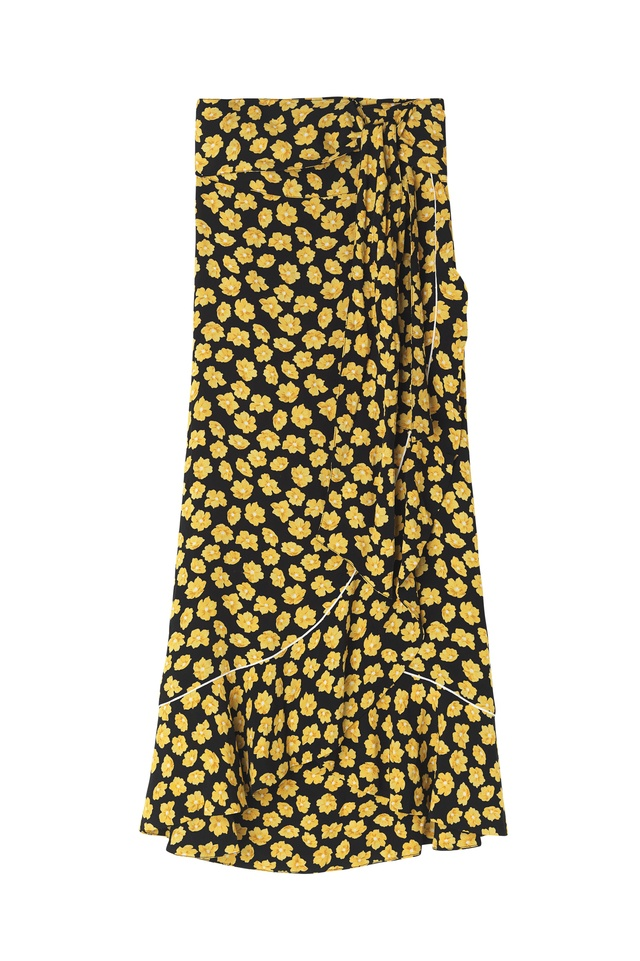 Free Shipping Best Store To Get Free Shipping Collections floral wrap skirt - Black Ganni Sale For Cheap Professional Cheap Online Outlet Marketable 68dB2cX8V